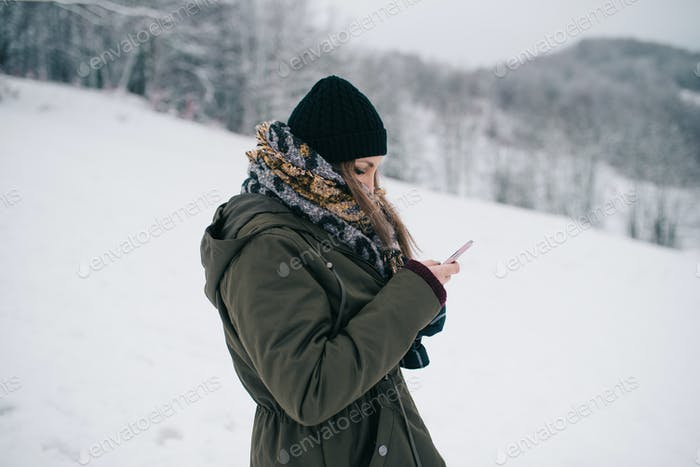 Woman using mobile smartphone