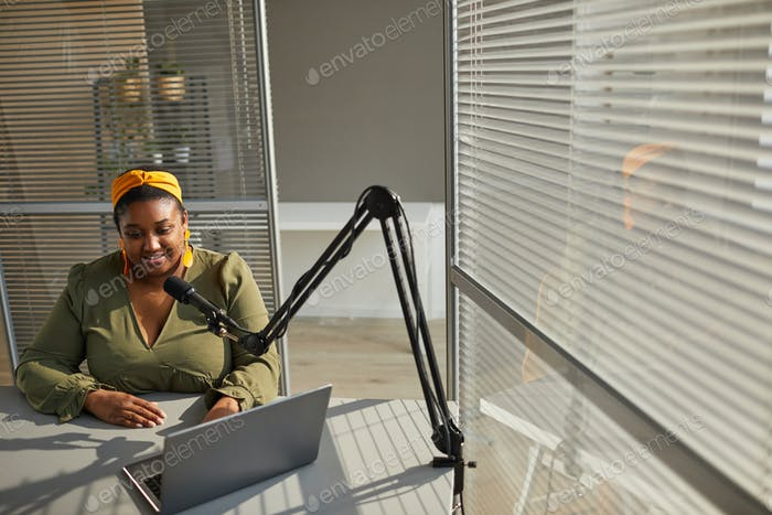 Woman leading live broadcast