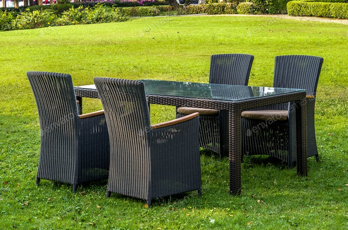 Rattan Furniture, Table, Chairs and Cushions