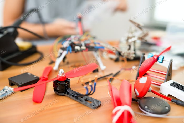 Installing the parts on drone