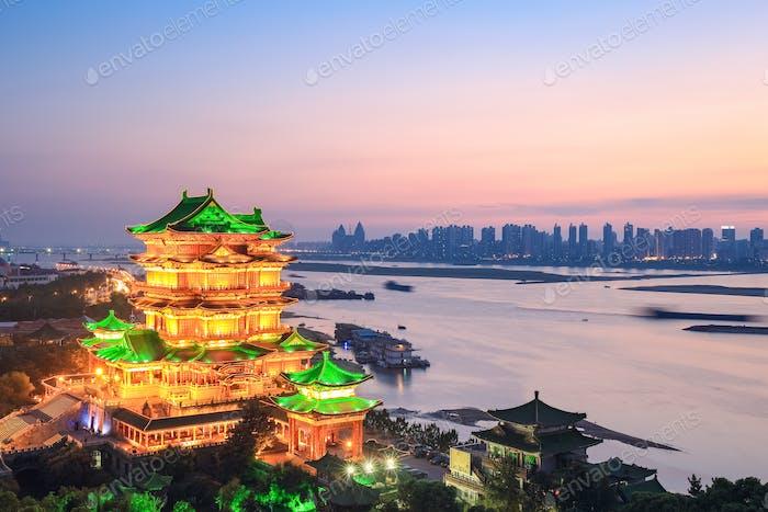 nanchang tengwang pavillon in sonnenuntergang
