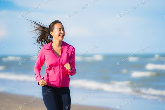 Thumbnail for Portrait beautiful young asian woman running or exercise on the