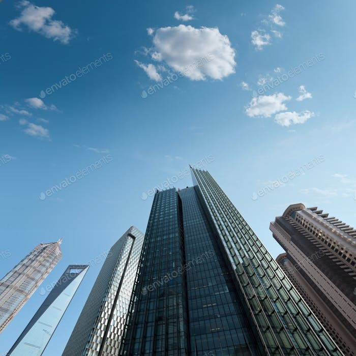 modern skyscrapers against a blue sky