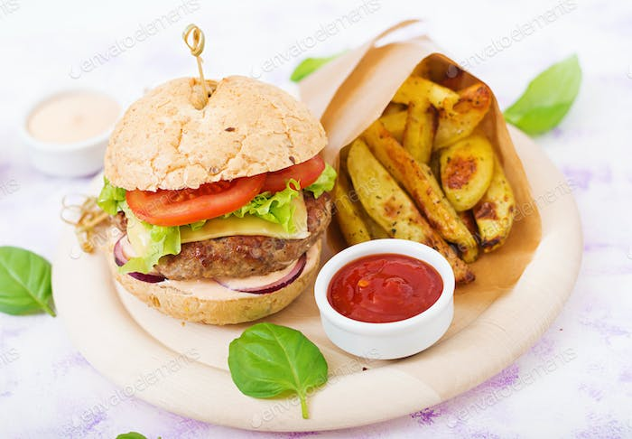 Big sandwich - hamburger with juicy beef burger