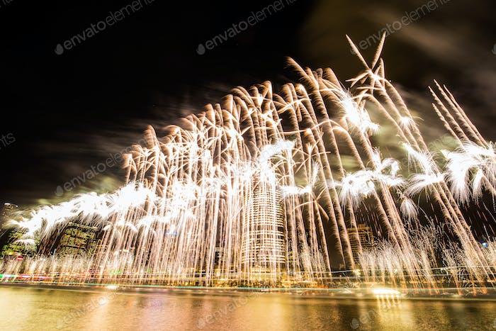 BRISBANE, AUSTRALIA, DEC 23 2016: Colorful fireworks over night
