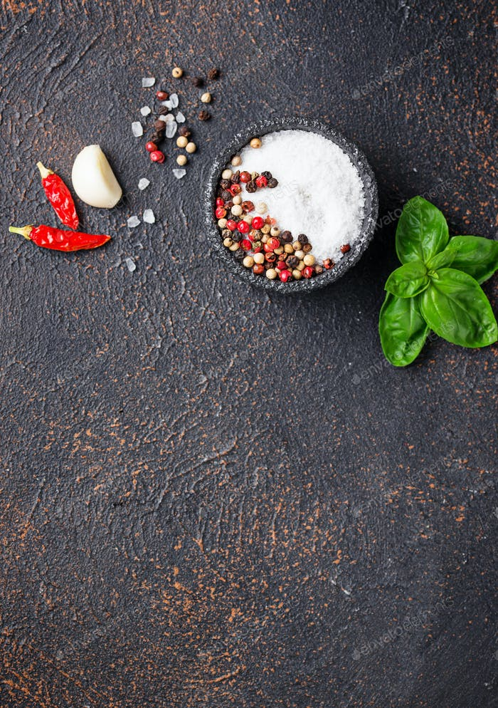 Herbs and spices. Basil, salt and pepper
