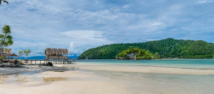 Water Hut of Homestay on Kri Island. Raja Ampat, Indonesia, West Papua