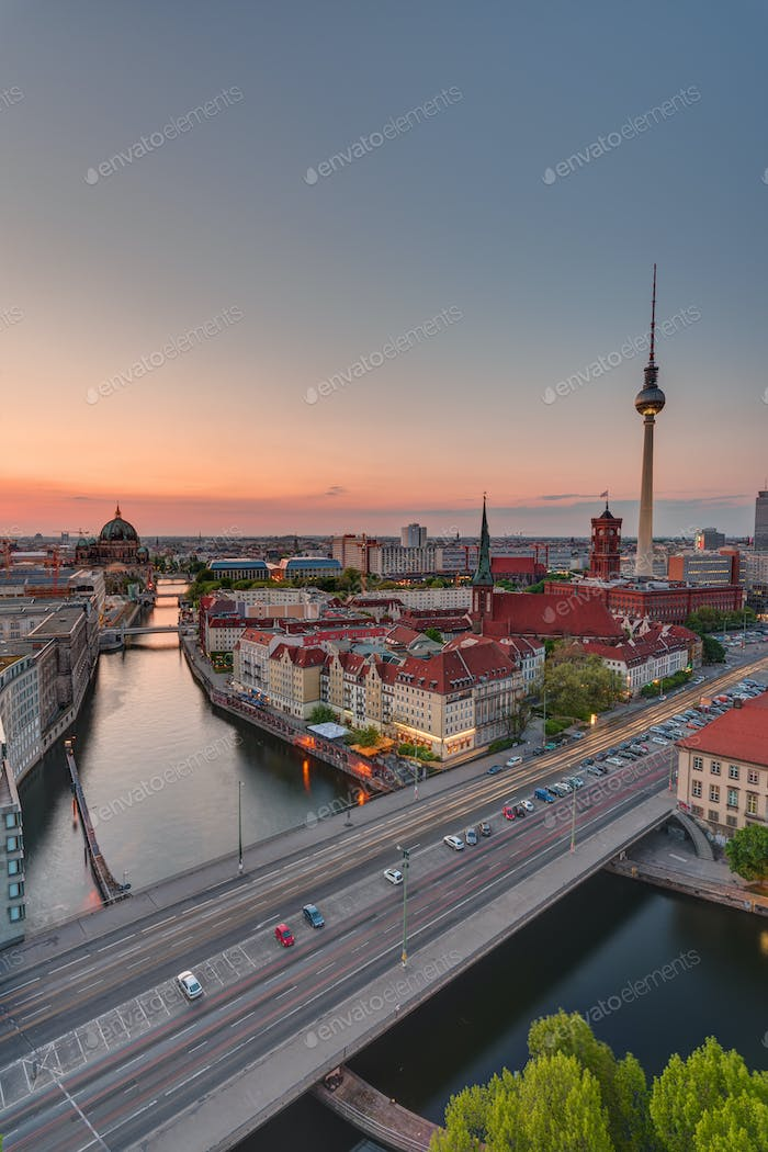 Dawn over downtown Berlin