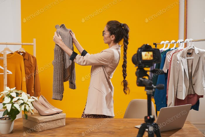 Fashion Blogger Filming Video in Studio