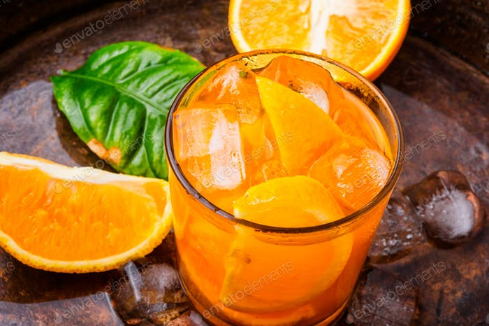 Orange drink with ice