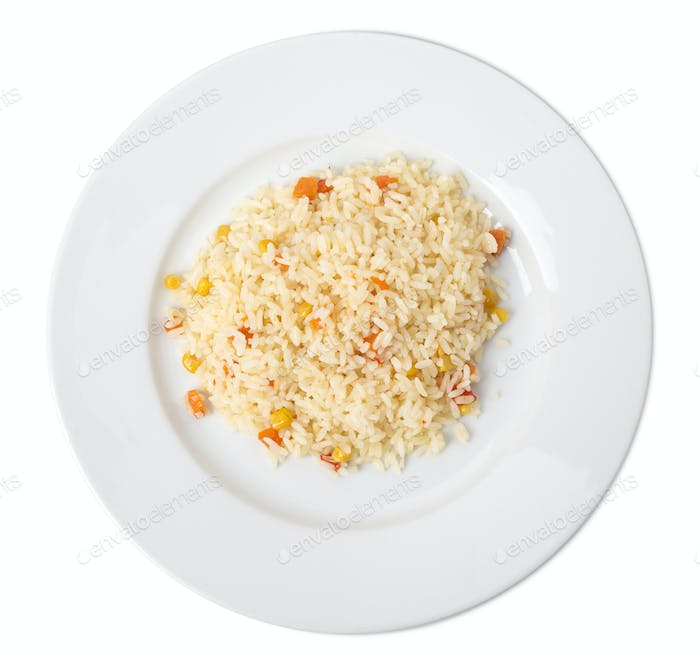 Delicious rice with vegetables.