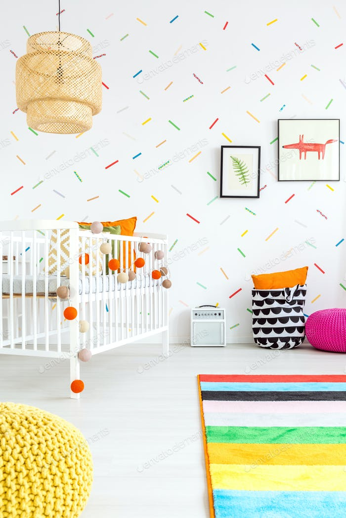 Baby room with wall decor