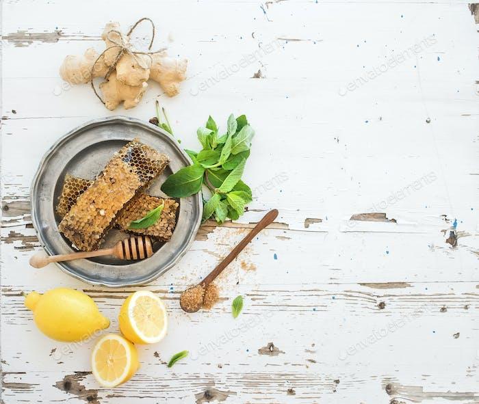 Herbal tea cooking set. Fresh mint, honeycombs, lemon, ginger