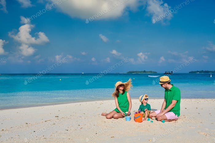 Family with three year old boy on beach