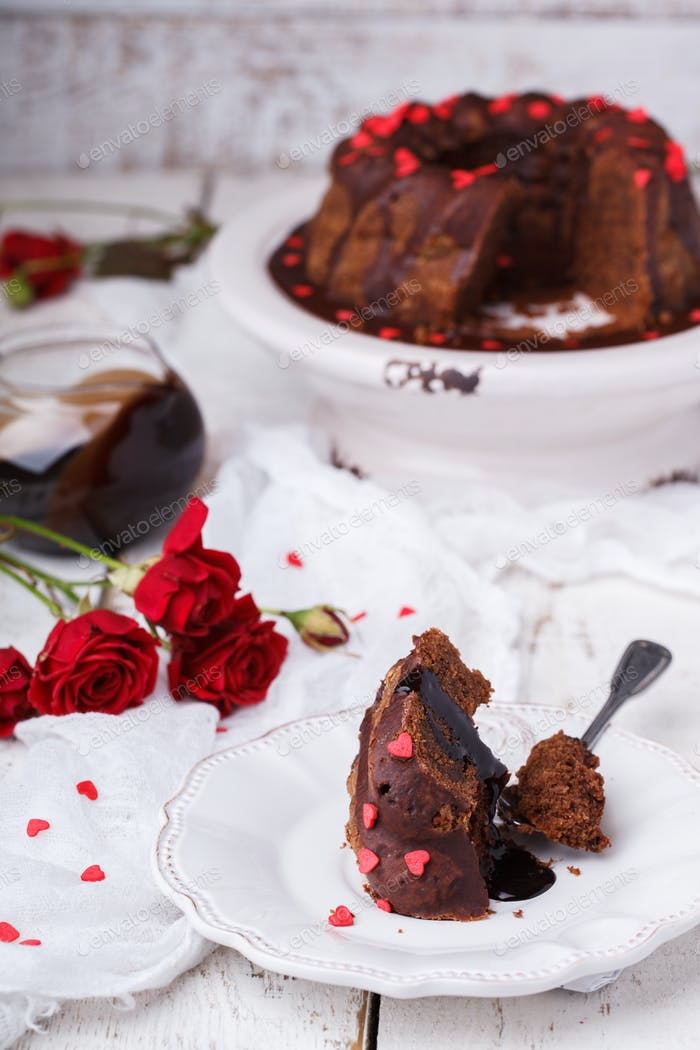 Chocolate cake with chocolate glaze holiday Valentine's day