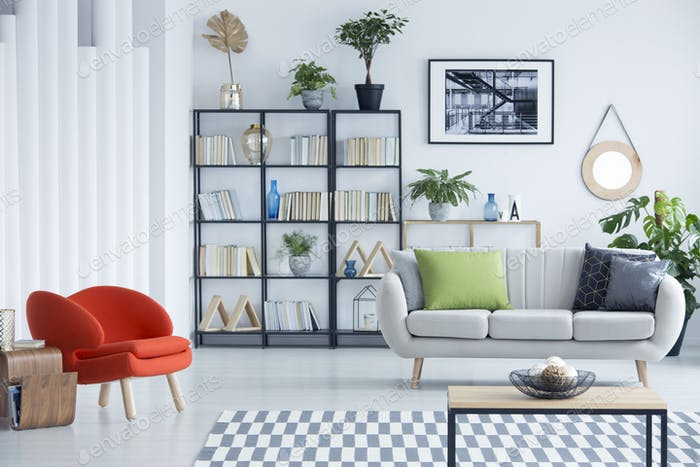 Home library in living room