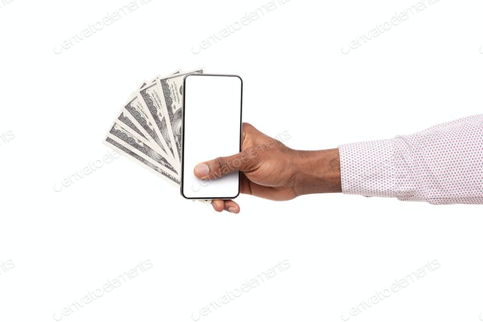 Smartphone with blank screen and cash in black male hand
