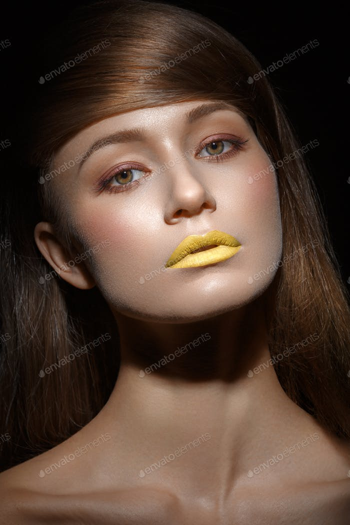 beautiful girl with yellow lips