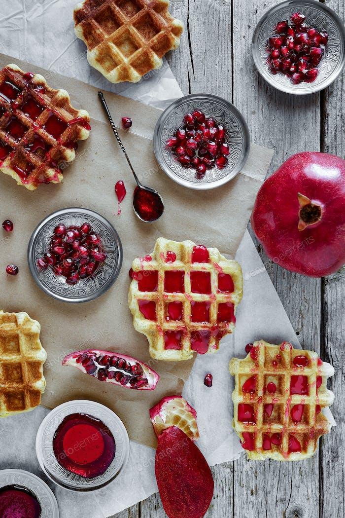 Waffle With Pomegranate Jam