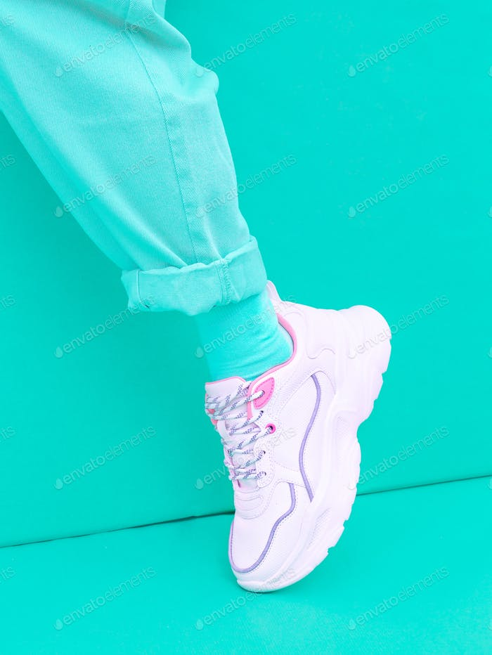 Fashion Sneakers shoes. Minimal monochrome design.  aqua menthe aesthetic