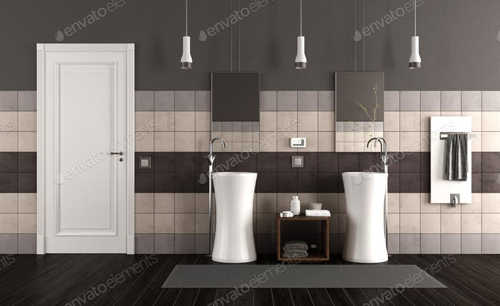 Modern bathroom with two sinks