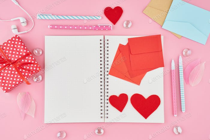 The concept of writing note, letters for Valentine's Day. Notepad page
