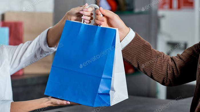 cropped shot of seller and buyer holding shopping bags in store
