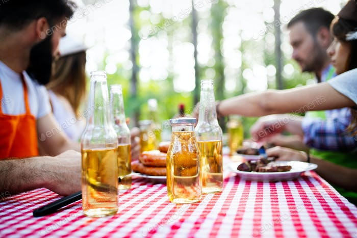 Group of friends having a barbecue and grill party in nature