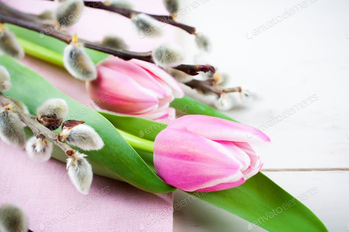 Easter composition with pink tulips