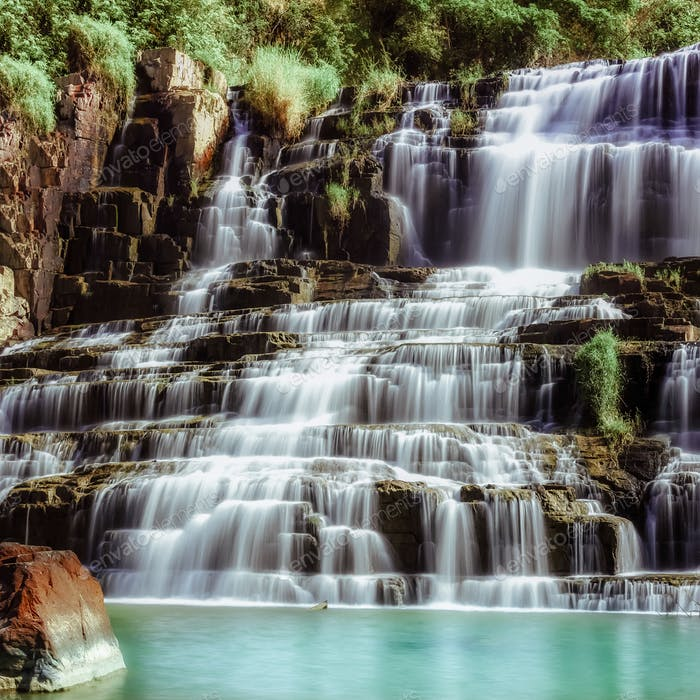 Flowing water of Pongour cascade waterfall. Da Lat, Vietnam