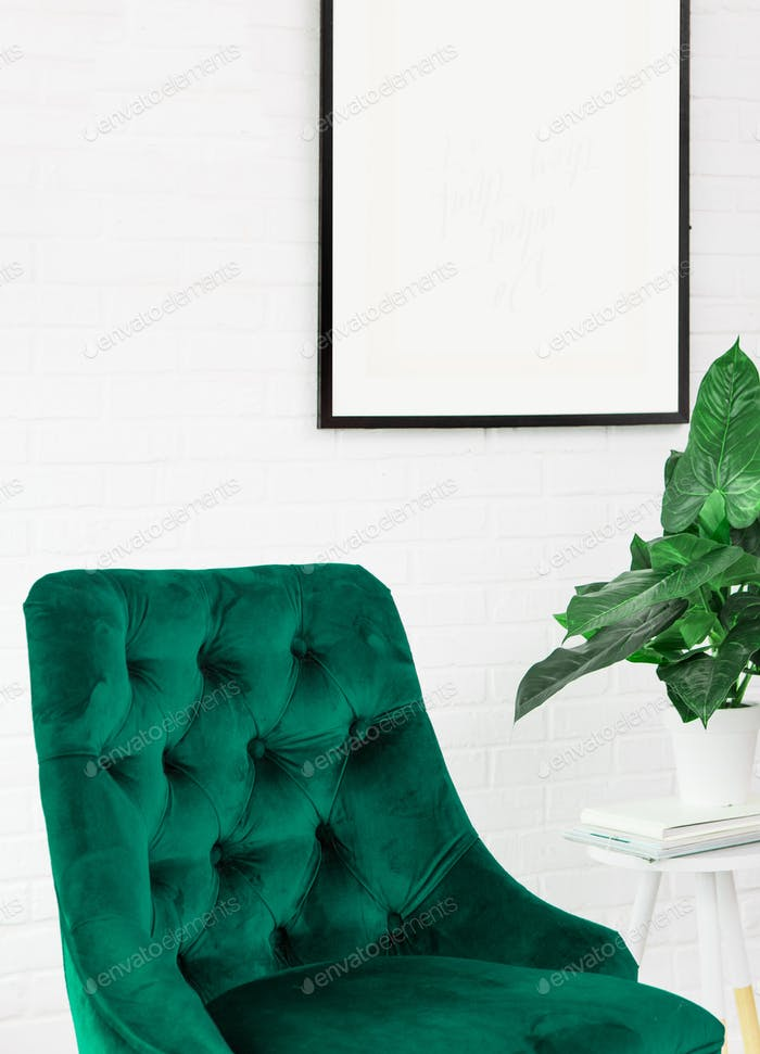 White poster green chair lamp plants