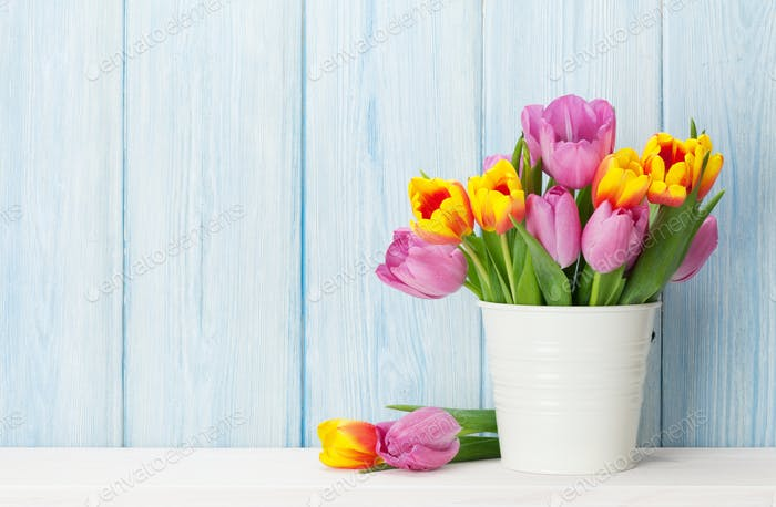 Fresh colorful tulip flowers bouquet