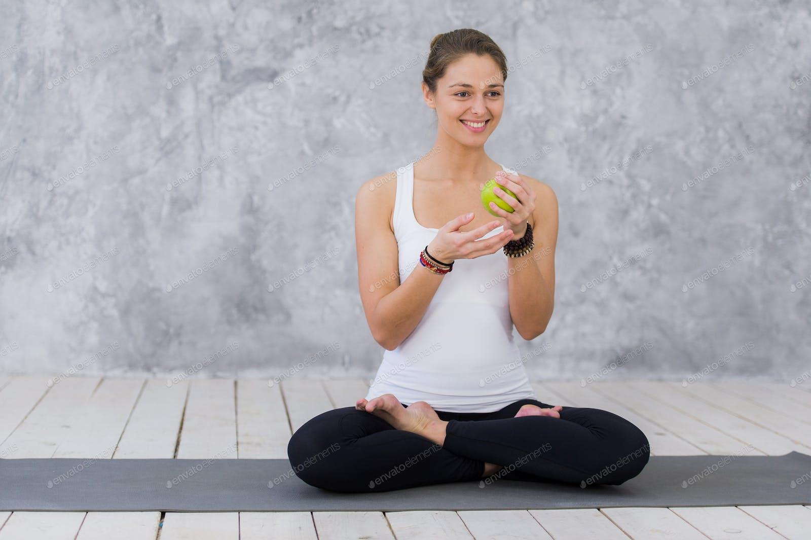 Caucasian Beautiful Healthy Athletic Sportive Girl Eat Green