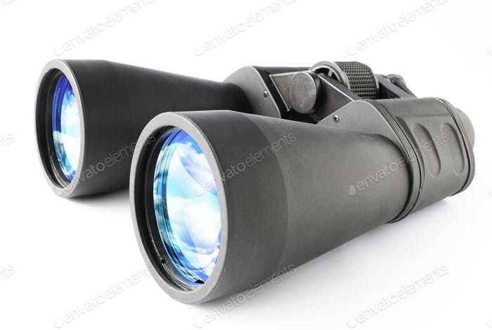 Black Binocular isolated on white background, clipping path.