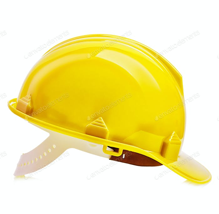 Yellow safety helmet close-up isolated on a white background.