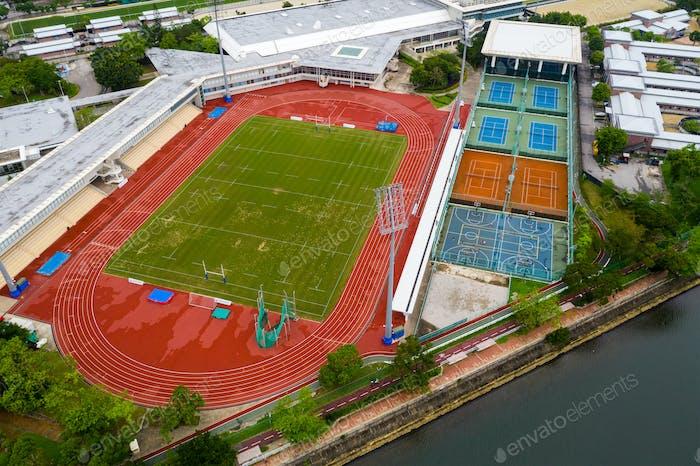 Luftaufnahme des Sportkomplexes
