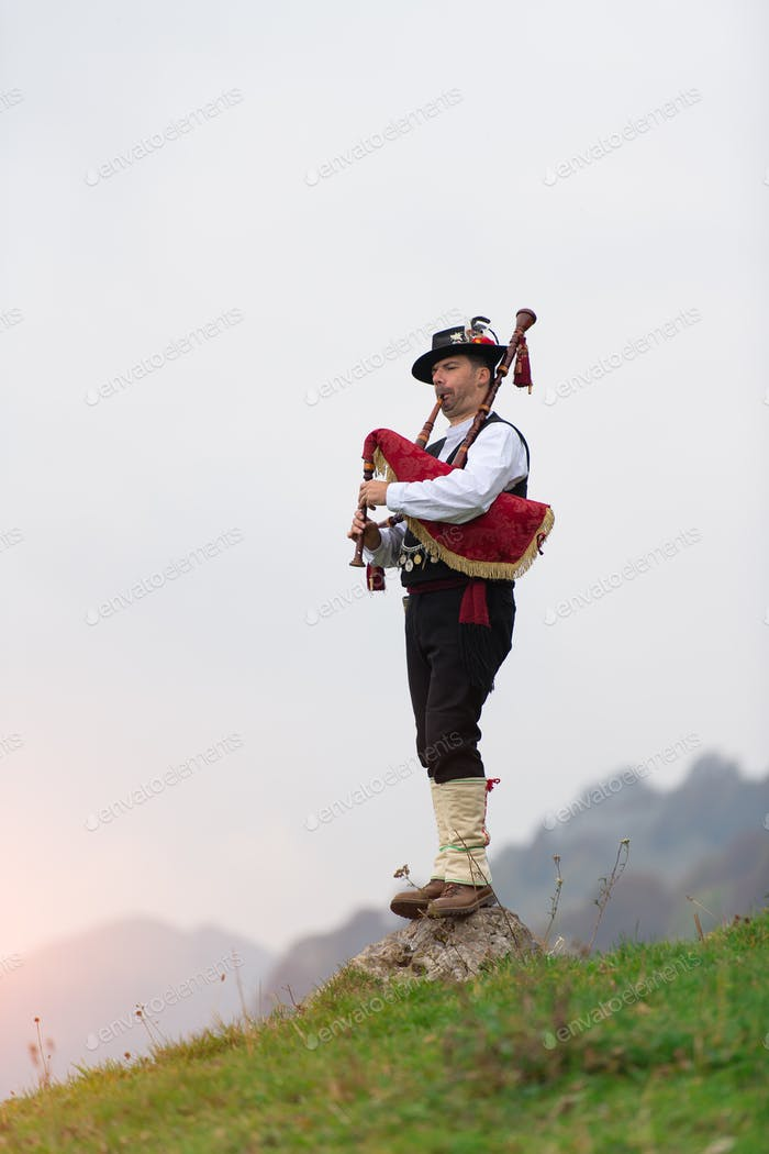 Bergamo bagpipe. Traditional instrument of northern Italy simila
