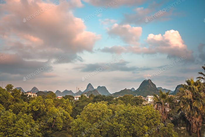 Summer landscape of Guilin town