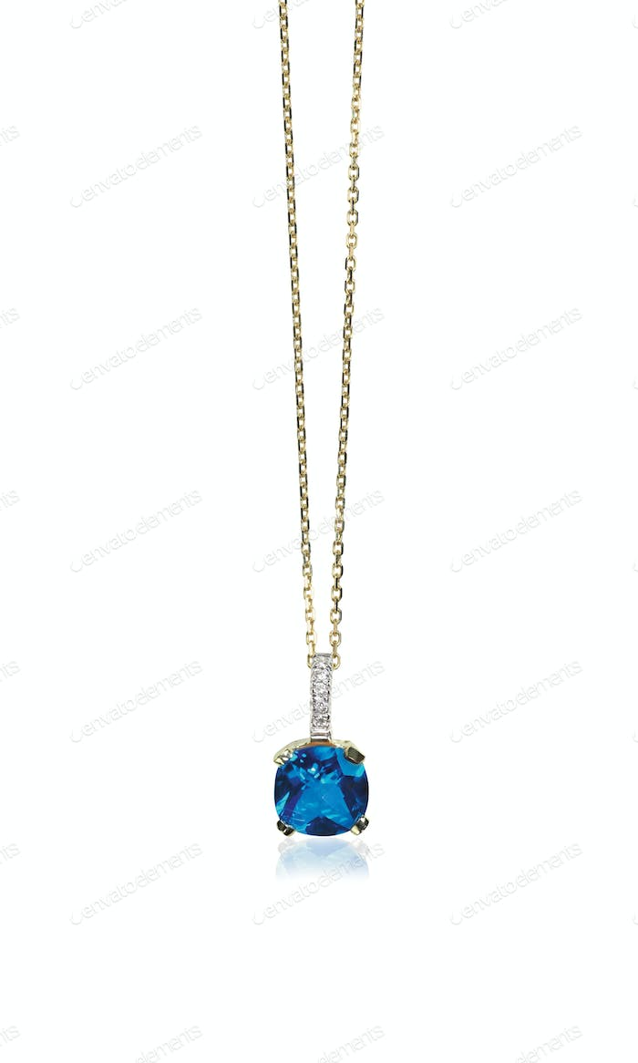 Blue sapphire gemstone birthstone necklace with diamonds