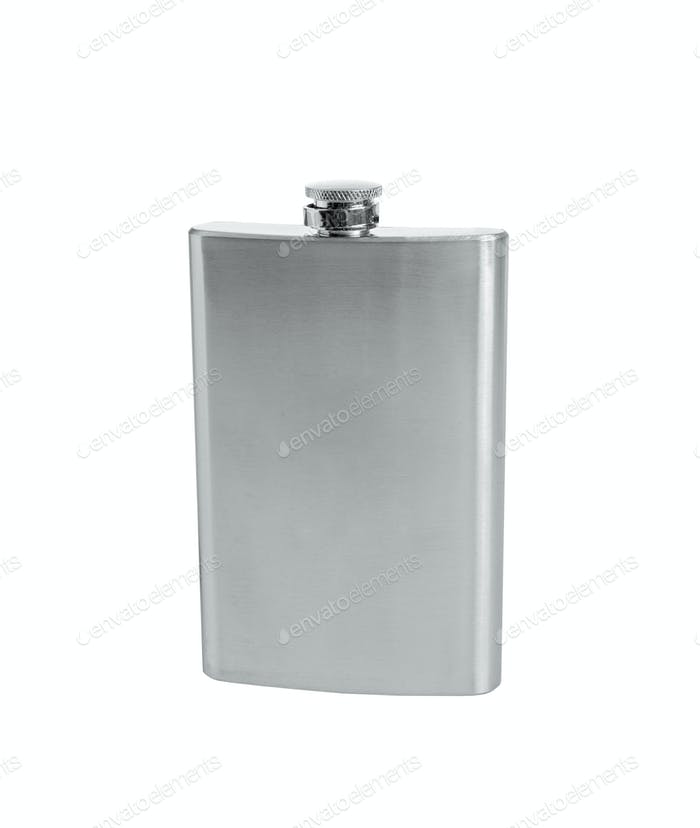 Stainless hip flask isolated on white background