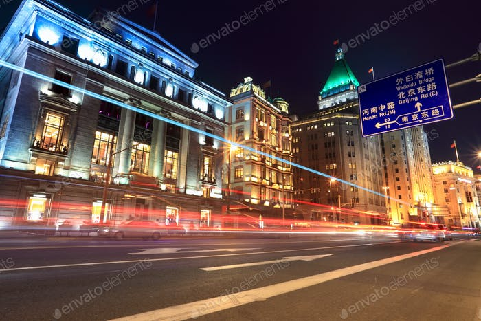 light trails on the street in shanghai bund