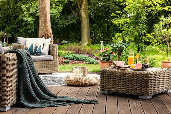 Rattan table with fruit