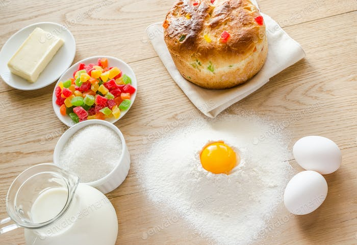 Basic ingredients for sweet bread (panettone)
