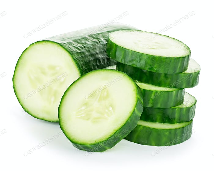 Cucumber slices isolated on white background.
