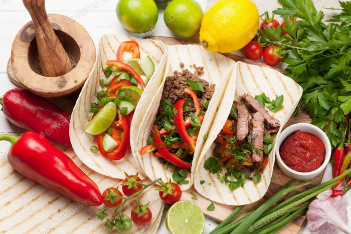 Mexican tacos cooking