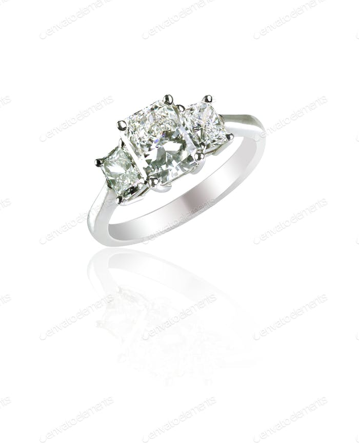 Beautiful diamond wedding engagement band three Stone Ring