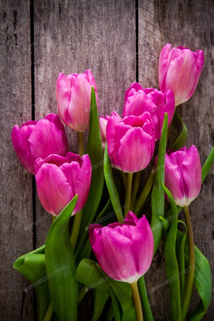 bouquet of purple tulips on a wooden background