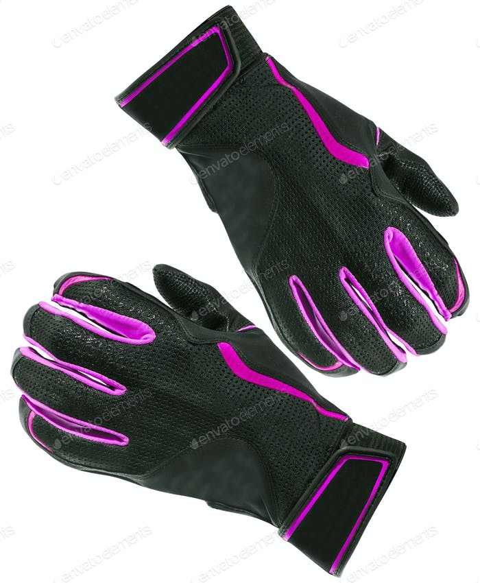 Purple gloves isolated