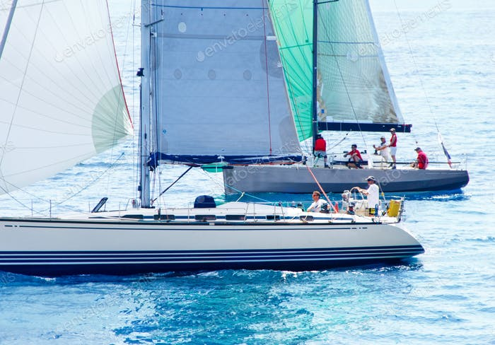 Brindisi, Italy - 06.16.2019: Sailing yachts during regatta  Brindisi Corfu