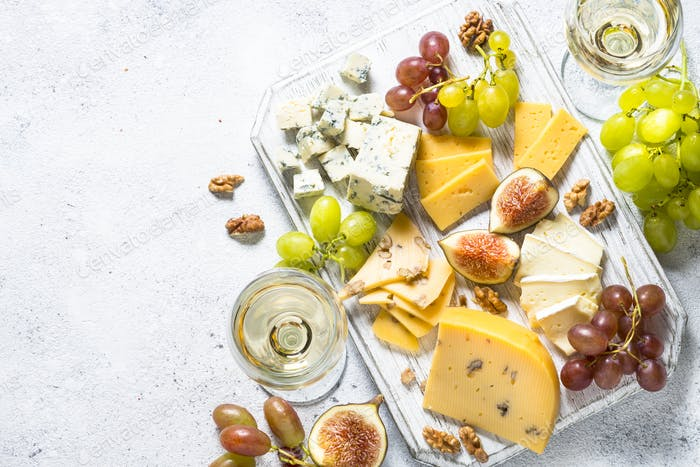 Thumbnail for Cheese plate with grapes, figs and nuts